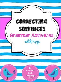 Correcting Sentences: Grammar Worksheets