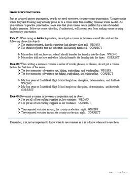 Correcting Unnecessary Punctuation Marks: Commas--Rules and Worksheet