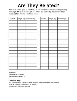 Correlation & Regression Notes/Activity