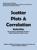 Correlation and Best Fit Line Activities