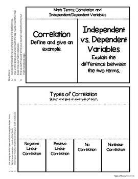 Correlation and Regression - Interactive Notebook Activities & Scaffolded Notes