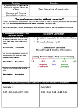 Correlation vs Causation Guided Notes and HW