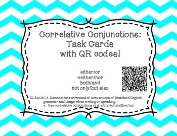Correlative Conjunction Task Cards with QR Codes!
