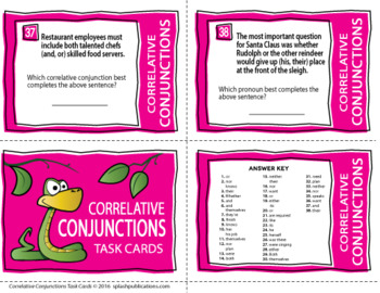 Correlative Conjunctions Activities, COMPLETE Lesson + Task Cards Bundle