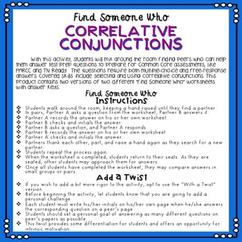 Correlative Conjunctions - Find Someone Who