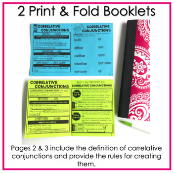 Correlative Conjunctions No Prep Fold and Go Interactive Notebook Booklets