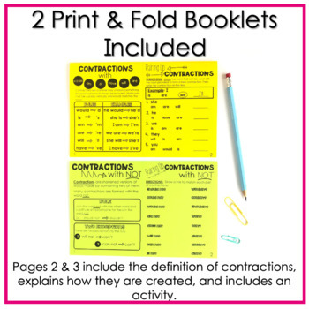 Contractions No Cut, Print & Fold Interactive Notebook Booklets