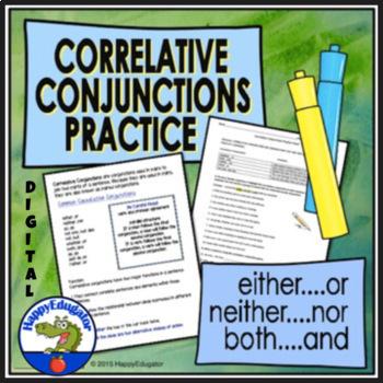 Correlative Conjunctions Practice Worksheet By Happyedugator Tpt