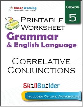 Correlative Conjunctions Printable Worksheet, Grade 5
