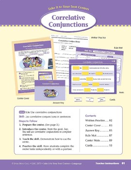 Correlative Conjunctions (Take It to Your Seat Centers: Common Core Language)