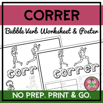 Correr Bubble Verb Worksheet and Poster