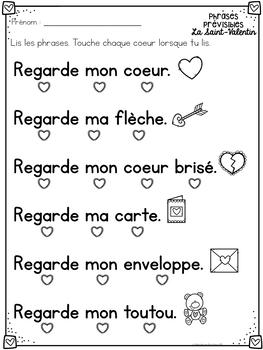 Correspondance mot à mot - la St-Valentin (FRENCH Valentine 1:1 correspondence)