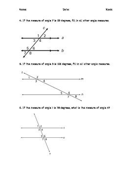 Corresponding Angles Practice