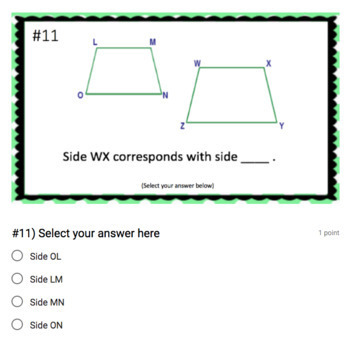 Corresponding Sides & Angles - (Google Form & Video Lesson!)