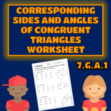 Corresponding Sides and Angles of Congruent Triangles Work