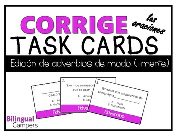 Corrige los adverbios TASK CARDS (Spanish Adverbs)