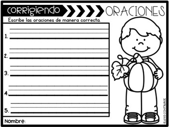 Corrigiendo Oraciones Octubre - Let's Fix Sentences (October)