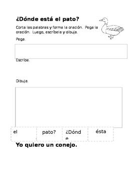 Corta y Pega la Oracion (Cut and Paste the Sentence in Spanish)
