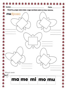 Las Silabas Mamemimomu Worksheets Teaching Resources Tpt
