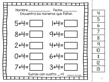 Cortar y pegar- Sumas con números 0 a 10
