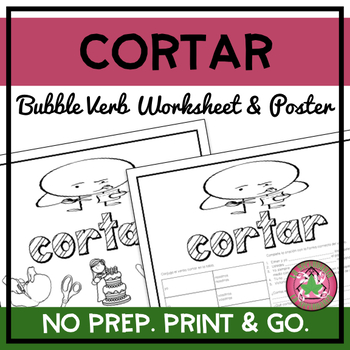Cortar Bubble Verb Worksheet and Poster