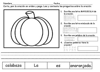 Cortar y Pegar Oraciones Dia de Gracias Spanish Cut and Paste Sentences