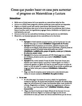 Cosas que puedes hacer ... el progreso en Matemáticas y Lectura