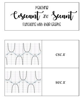 Cosecant and Secant Matching Card Sort