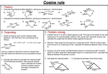 Cosine Rule - mastery worksheet