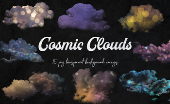 Cosmic Clouds Clipart, Magical Clouds, Colorful Dreamy Cloud, 15 PNG Images
