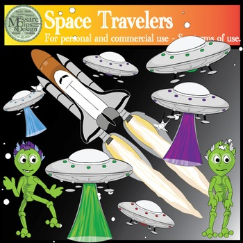 Cosmic Travelers Set - Space Vehicles Clipart {Messare Cli
