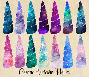 Cosmic Unicorn Horns, Watercolor Galaxy night sky clipart fantasy graphics