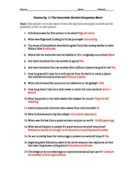 Cosmos: A Space Time Odyssey - Part 11 Student Companion Worksheet