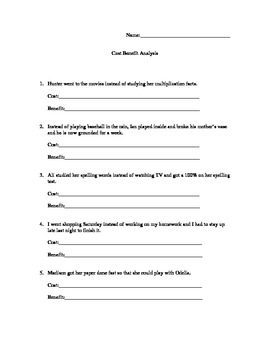 cost benefit analysis worksheet by monica hiatt tpt. Black Bedroom Furniture Sets. Home Design Ideas