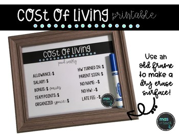 Cost of Living Printable- Class Management *Printable*