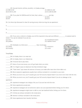 Cost of Living Test: Word document to individualize