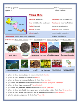 Costa Rica Fact Sheet (Avancemos 2 U1L1)