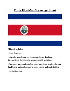 Costa Rica Map Scavenger Hunt