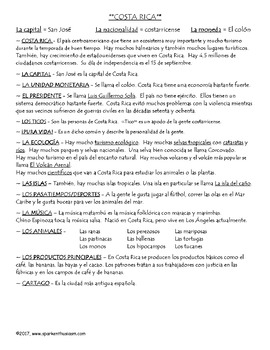 Costa Rica Notes and Questions in Spanish