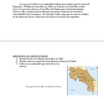 Costa Rica Worksheets (Spanish)