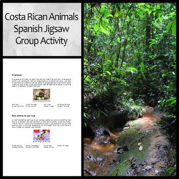 Costa Rican Animals Jigsaw Group Activity in Spanish