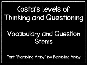 Costa's Level Vocabulary and Question Stems