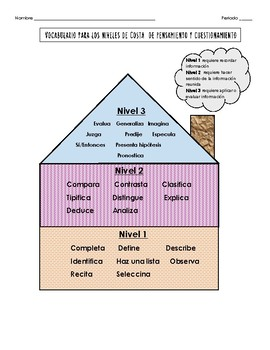 Costa's Levels of Thinking and Questioning in Spanish Handout