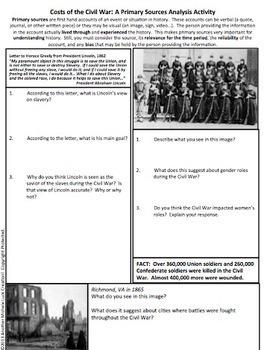 Costs of the Civil War Analysis Activity Handout Homework CCSS