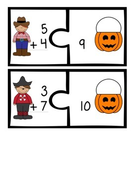 Costume Addition Puzzles - Single Digit Addition