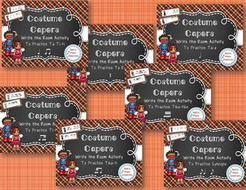 Costume Capers! Halloween Scavenger Hunt: Write the Room Rhythm BUNDLE, 7 Games!