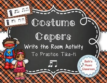 Costume Capers! Halloween Scavenger Hunt: Write the Room Rhythms, Tika-ti
