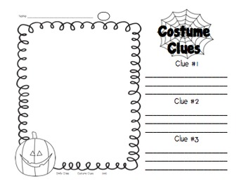 Costume Clues - Halloween Writing and Drawing Activity