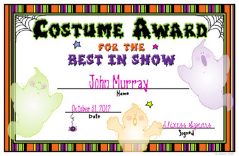 Costume Contest Certificates Download