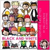 Costume Kidlettes - BLACK AND WHITE - Melonheadz Clipart